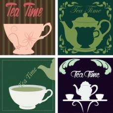 紫色绿色茶壶下午茶矢量背景