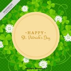 帕特里克时代鲜花的绿色背景