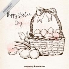 中世纪风格的篮子和复活节彩蛋的背景