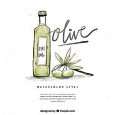 素描橄榄油背景