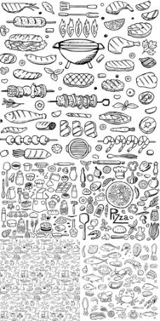 手绘食物图案矢量图