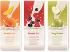 美味牛奶水果横幅向量