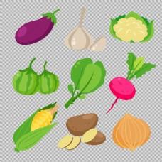 手绘风格蔬菜免抠png透明图层素材