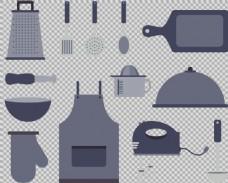 灰色各种厨房用品免抠png透明图层素材