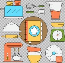 手绘线描风格厨房用品免抠png透明素材