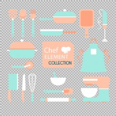 各种彩色厨房用品免抠png透明图层素材