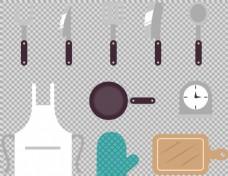 各种扁平厨房用品免抠png透明图层素材