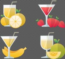 手绘风格果汁图标免抠png透明图层素材