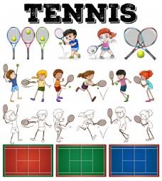 网球运动员及装备说明