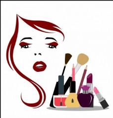 女人化妆品矢量图