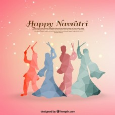 Navratri背景多边形风格的传统舞蹈