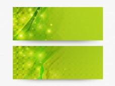 闪亮绿色网站标题或横幅模板与抽象设计。
