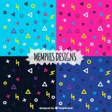 孟菲斯风格的现代色彩图案