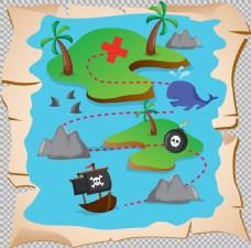蓝色海盗藏宝图免抠png透明图层素材