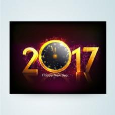 紫色时钟和明亮的形状新年卡