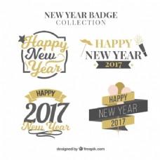 新年的黑色和金色贴纸
