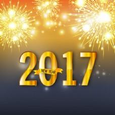 大背景,新年金色焰火