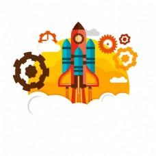 平面设计中的火箭背景