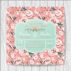 婚礼请柬的机智的玫瑰和蜂鸟的背景