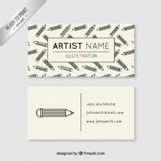 带铅笔的艺术家名片