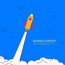 蓝色背景与火箭业务