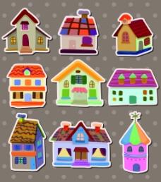房子儿童卡通贴纸标签矢量