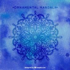 蓝色背景与手绘曼荼罗装饰