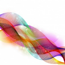 创意抽象彩色波浪或多色流动粒子设计。