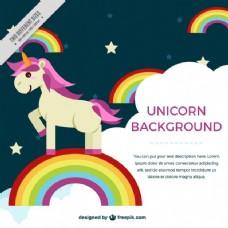 独角兽背景,色彩斑斓的彩虹