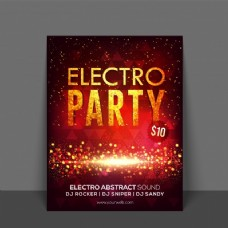 闪光的传单,模板或横幅设计为电子音乐晚会庆祝。
