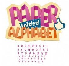 26个创意折纸字母设计矢量