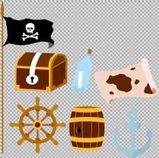 手绘海盗元素图案免抠png透明图层素材