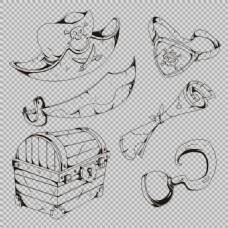素描风格海盗元素图免抠png透明图层素材