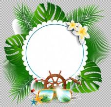 圆形绿叶花边免抠png透明图层素材