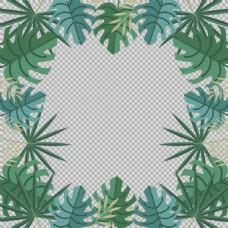 棕榈绿叶边框免抠png透明图层素材