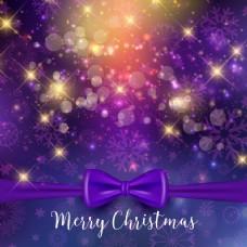 圣诞背景紫色丝带