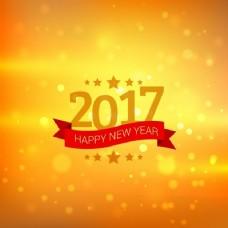 黄色的背景虚化的新年背景与红丝带