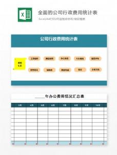 全面的公司行政费用统计表Excel文档