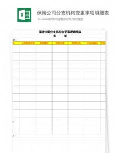 公司分支机构变更事项明细表Excel文档