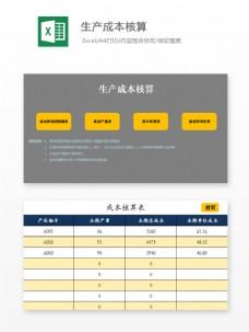 生产成本核算Excel模板