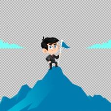 登上山顶的商务男士免抠png透明图层素材