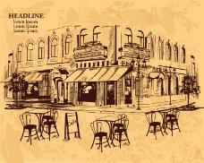 复古手绘室外咖啡馆矢量