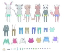 动物拟人时尚打扮插画
