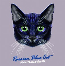 蓝色猫咪宠物猫头像品种矢量