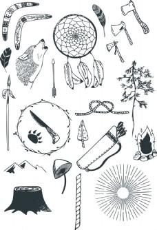 夏天冒险野营矢量涂鸦装饰元素合集