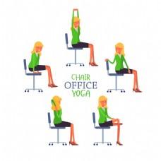 椅子练瑜伽的女人图片