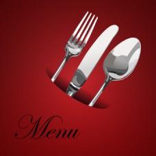 酒红色餐厅菜单Logo设计