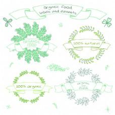 水彩手绘有机植物自然花环矢量 logo