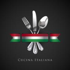创意刀叉餐厅菜单Logo设计
