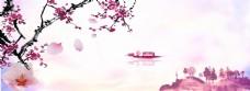 水彩中国风梅花banner海报背景